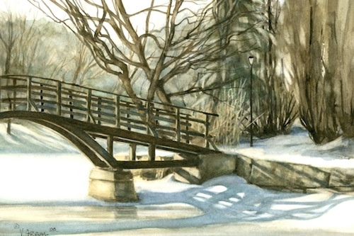 Art Card from a Watercolour by Vyvyan Green of the Tom Patterson Bridge in winter in Stratford Ontario