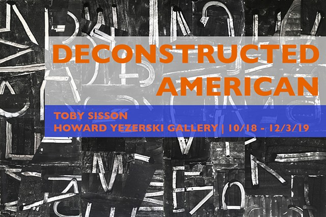 Deconstructed American 1-4 |  Announcement Postcard for Deconstructed American Exhibition at Howard Yezerski Gallery