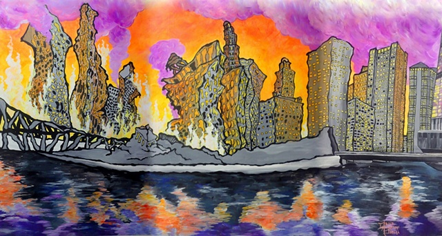 Dana Parisi, Chicago, River, Burning, Fire, Neon, Flames, Melting, Heat, Hot, Flat Iron, Mural