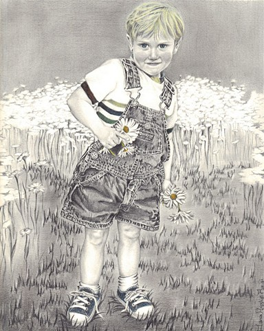 Dana Parisi, Black and white, portrait, little boy, flowers, drawing
