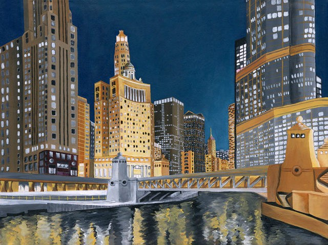 Dana Parisi, Chicago, Skyline, Bridge, River, Chicago River, Urban, Painting, Acrylic