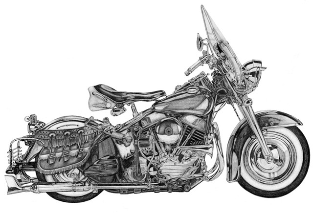 Dana Parisi, vintage Harley Davidson, drawing, pencil