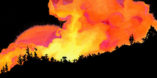 Dana Parisi, Acrylic, Paint, Explosion, Flame, Fire, Neon, Silhouette, Hill