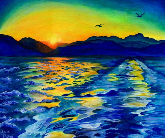 Dana Parisi, Greece, Karystos, Ocean, Water, Island, Sunset, Neon,Wake, Acrylic, Paint