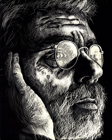 Dana Parisi, Scratchboard, Clayboard, Scratch, board, Clay, Black and white, portrait, drawing