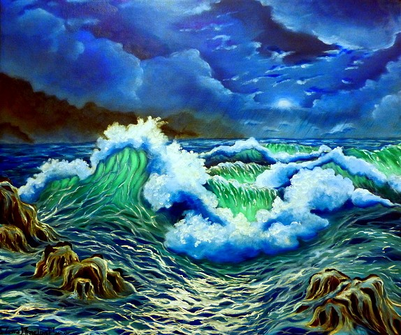 Dana Parisi, Ocean, Sea, Oil Paint, Waves, Storm, Moon, Moonlight, Crashing, Cloud