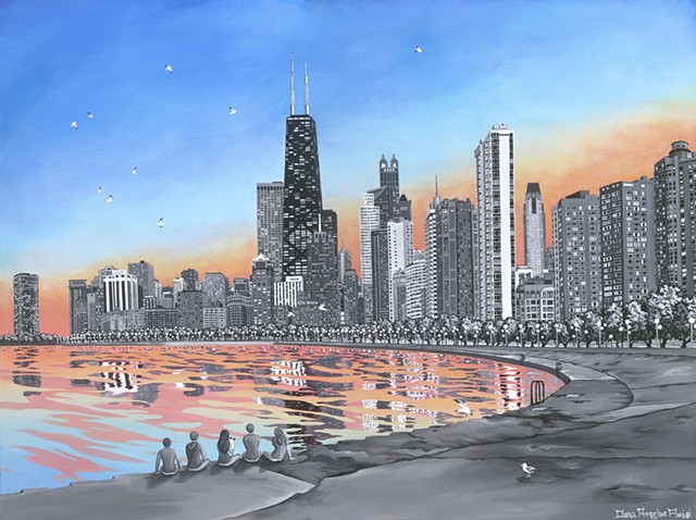 Dana Parisi, Chicago skyline, sunset, city, Hancock building, trump building, Drake hotel, Lake Michigan, North Avenue Beach, beach