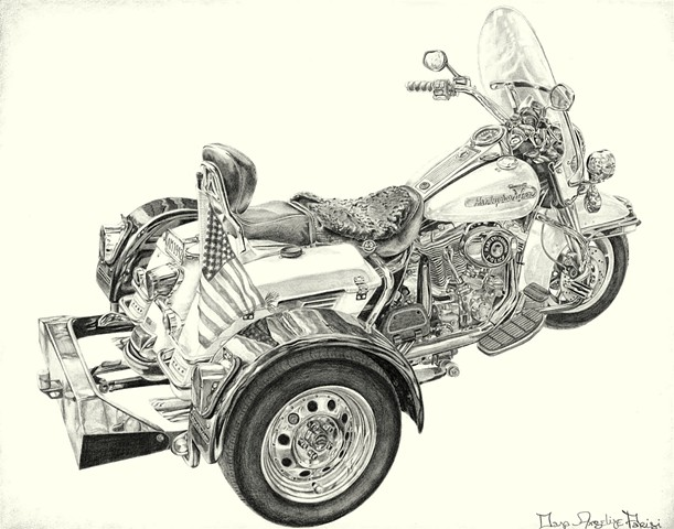 Dana Parisi, Harley Davidson Police Roadster, pencil, drawing