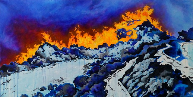 Dana Parisi, Forest Fire, Acrylic Paint, Volcano, Fire, Painting, Neon, Snow