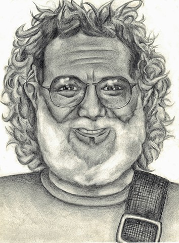 Jerry Garcia, portrait, drawing
