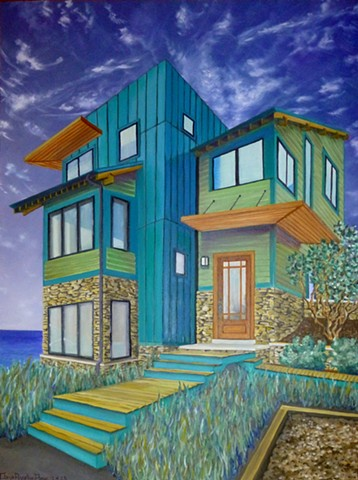 Dana Parisi, Oil Paint, House, Michigan, Michiana, New Buffalo, Green, Lake, Lakehouse