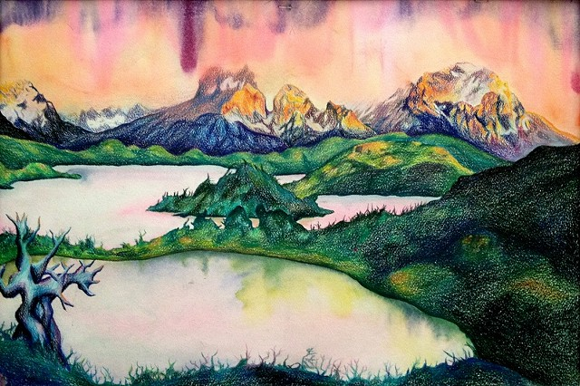Dana Parisi, mountains, color, colored pencil, lake, sunset