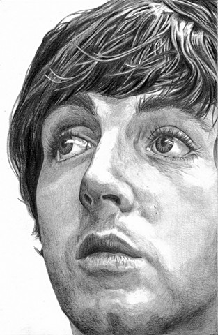 Dana Parisi, Pencil, Black and white, portrait, Paul McCartney, Beatles, drawing