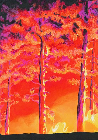 Dana Parisi, Fire, Flame, Neon, Fire, Acrylic, Paint, Forest Fire, Tree