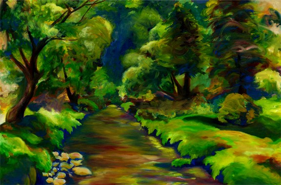 Dana Parisi, Ireland, Green, Forest, Oil Paint, Path, River