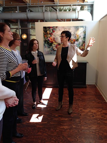 Ysabel LeMay speaking to tour group at Catherine Edelman Gallery Chicago