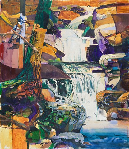 waterfall, landscape, painting, cezanne, hartley, bird, american, modern