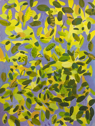 Foliage summer trees leaves painting