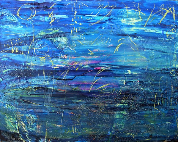 Etched Paint on canvas, Canadian Art, Art of the Sea, Imaginings of the Sea