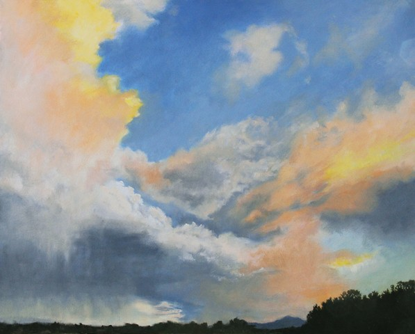southwestern sky series, a beautiful New Mexican sunset sky, a skyscape which is also a landscape, inspired art.