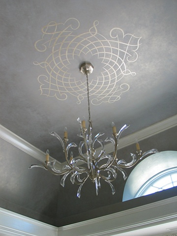 Ceiling design on metallic glaze