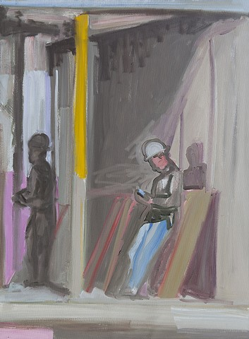 oil painting of construction worker