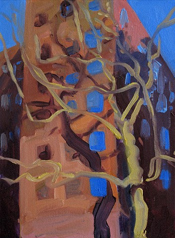 Tree and buildings