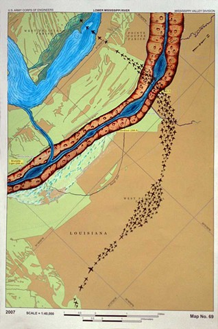 RIVER ROOM, 2013, Detail Lower Mississippi River Chart #69