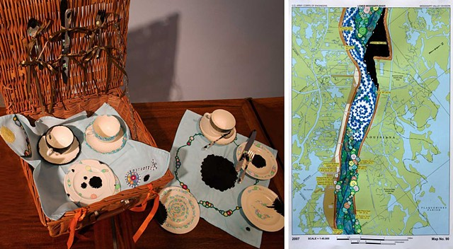 RIVER CAMPAIGN: Collage of River Campaign Picnic Basket and Mississippi River Navigational Chart