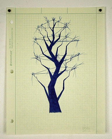 drawing, ink, silhouette, graph paper