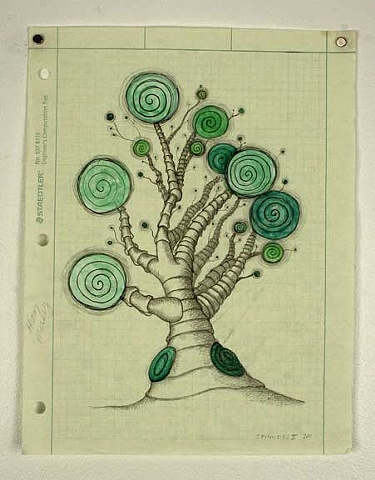 Tree, drawing, pencil, paint