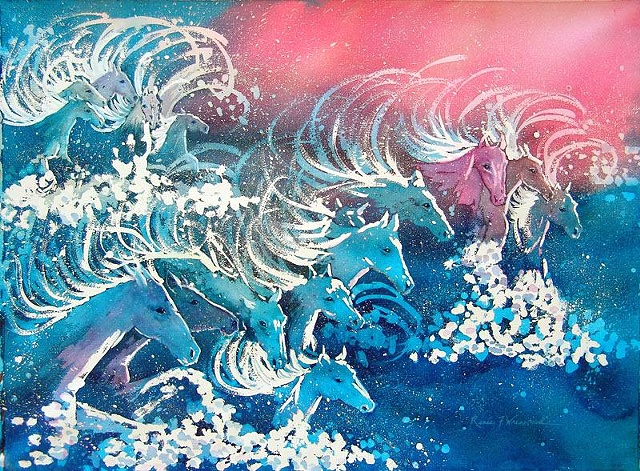Horses becoming waves