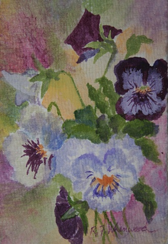 pansies, purple, white, watercolor, miniature