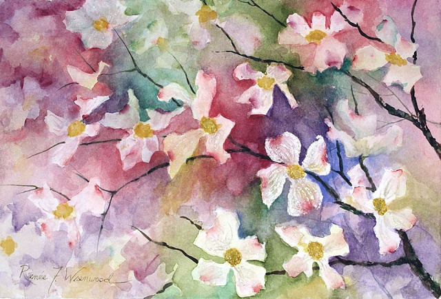 Dogwood Blossoms, color, watercolor, white