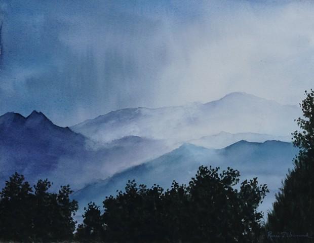 Pikes Peak in blues