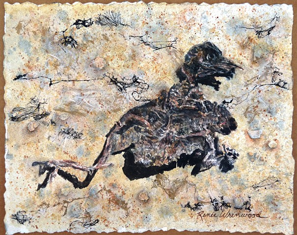 warm brown, black, white, dinosaur, death, duckling, life. watercolor, fibers, unryu