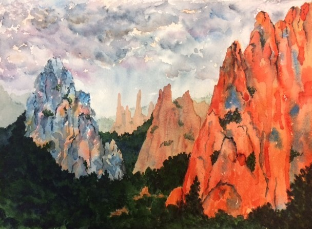 Red Rocks in Colorado, thunder storm, mountains, sunset colors with gray and blue, watercolor