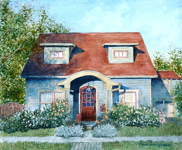 a historic McKinney home painted for the Home Preservation Calendar. Watercolor.