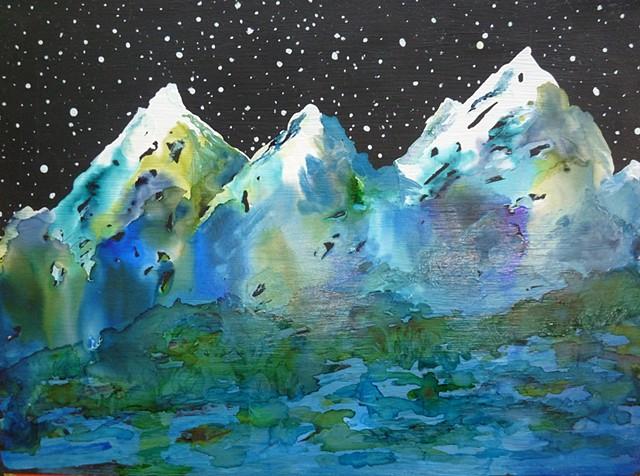 mountains blue green black