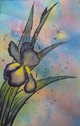 Oriental style iris with firefly.