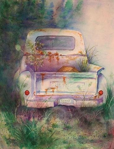 rust, rusted truck, watercolor, garden, weeds