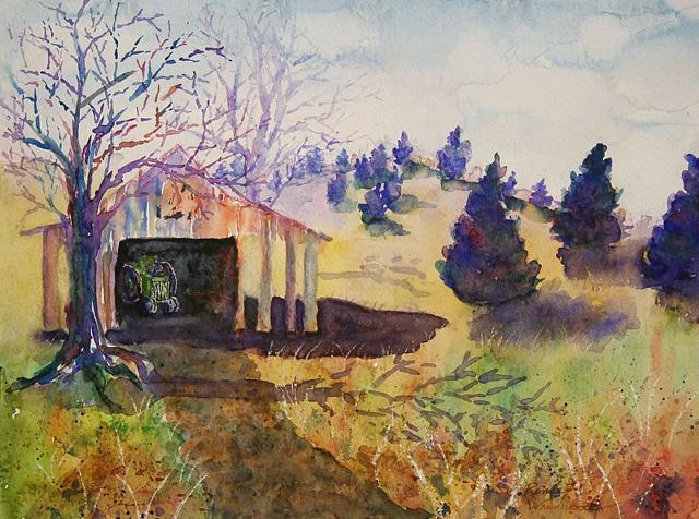 tractor, John Deere, hills, cedars, watercolor