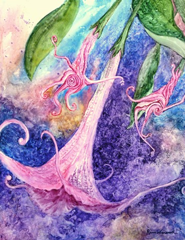 watercolor, Yupo, abstract, floral, blue, pink, purple, Brugmansia, Angel's Trumpet, spiral, artwork, handpainted, original