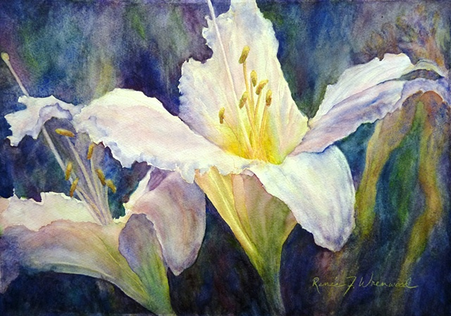 Pink day-lily with a glowing throat, painted by a local McKinney Watercolor artist