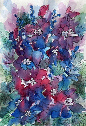 Loose painting of Delphiniums with Pen and Ink over watercolor