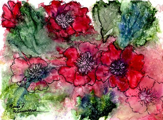 Watercolor on Yupo in brilliant reds