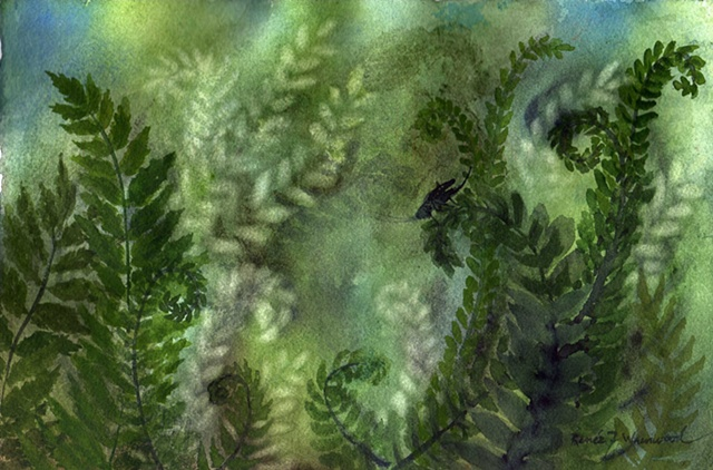 ferns, cricket, green, cool, watercolor, McKinney, TX