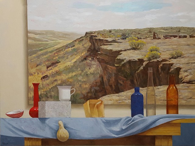 Still Life with Cliff Painting