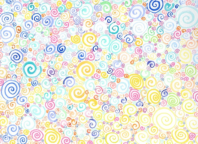 pattern abstract watercolor painting curl swirl