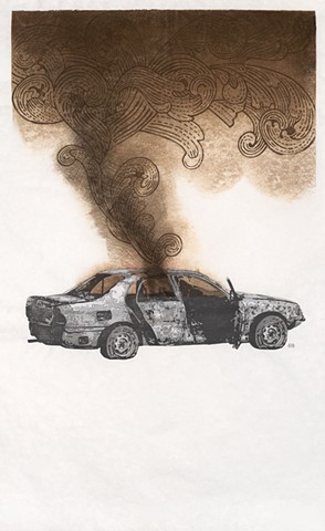 Moku hanga woodblock print by Annie Bissett of a burned car based on news photo from Iraq plus smoke made from a design on dollar bill.moku hanga